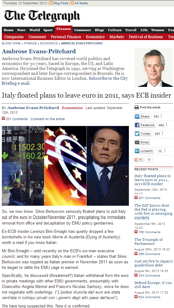Italy floated plans to leave euro in 2011, says ECB insider – Telegraph Blogs