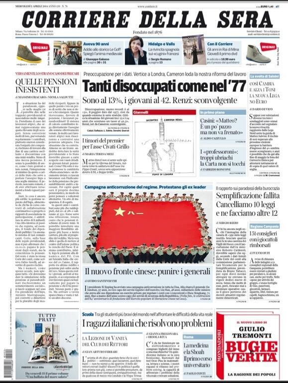 Corriere della Sera falso in prima pagina