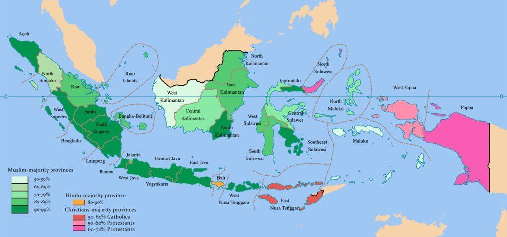 Cartina Bali Indonesia.Indonesia Mappa Religiosa