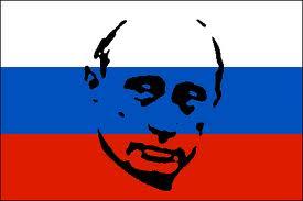 Russia - Bandiera con viso Putin abbozzato