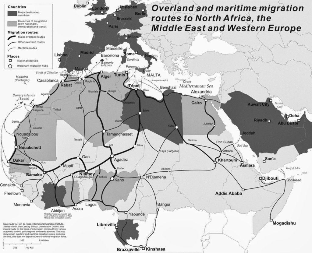 Cartina Dell Africa In Bianco E Nero.Mappa Delle Rotte Dell Emigrazione Dall Africa All Europa