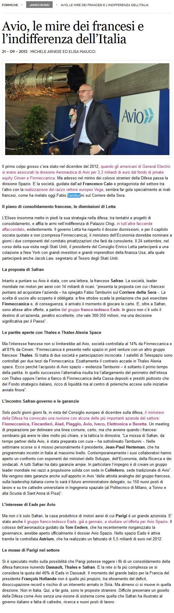 FireShot Screen Capture #071 - 'Avio, le mire dei francesi e l'indifferenza dell'Italia - Formiche' - www_formiche_net_2013_09_21_avio-finmeccanica-safran-eads