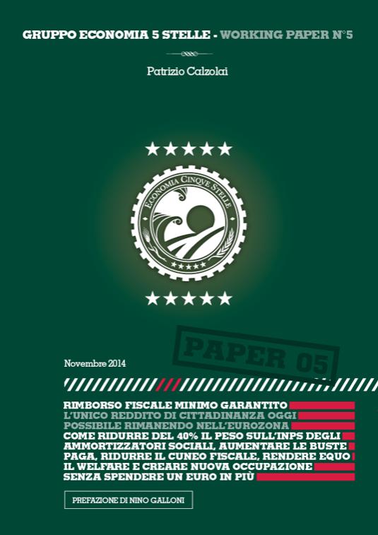 La copertina del nuovo paper di Economia 5 Stelle Rimborso Fiscale Minimo Garantito