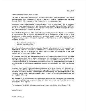 News : la lettera con la  controproposta greca all'Unione Europea