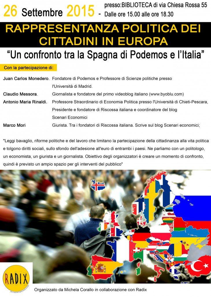 """""""Un confronto tra la Spagna di Podemos e l'Italia"""" il 26/9 a Milano"""