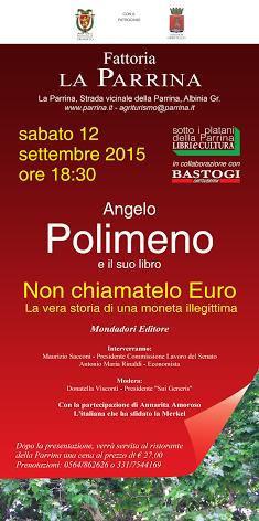 """""""Non Chiamatelo Euro"""". Presentazione del nuovo libro di Angelo Polimeno."""