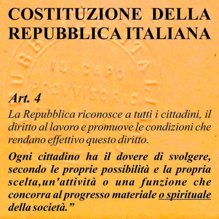 Sulla piena applicazione dell'articolo 4 della Costituzione della Repubblica Italiana.