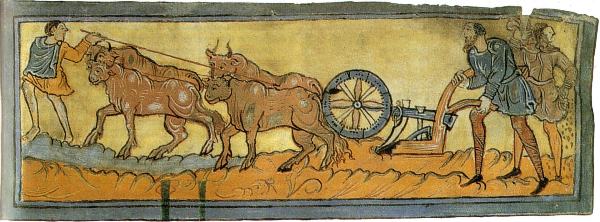 Calendario_(l'aratura),_1000_circa,_miniatura,_cotton_ms._Tiberius_B._V.,_f._3r.,_Londra,_British_Library