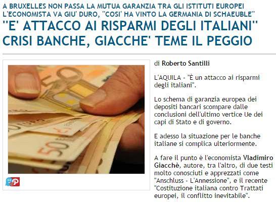 La crisi delle banche italiane ci dice che la Germania vuole per l'Italia una patrimoniale con il fine di abbassare l'incomprimibile ed inderogabile debito pubblico, ecco un'analisi (reload)