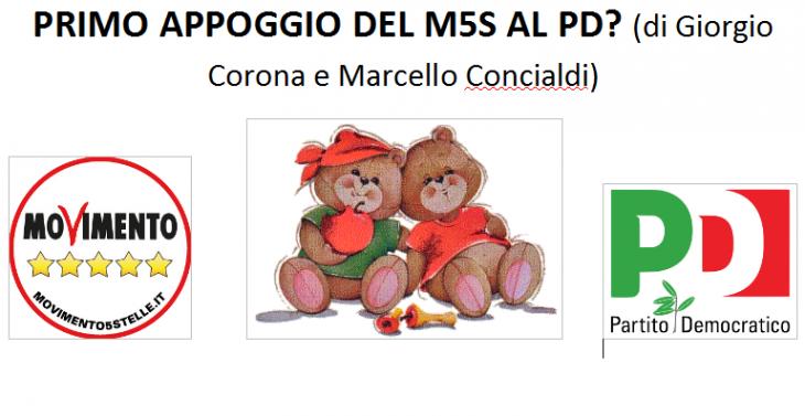 PRIMO APPOGGIO M5S AL PD? (di Giorgio Corona e Marcello Concialdi)