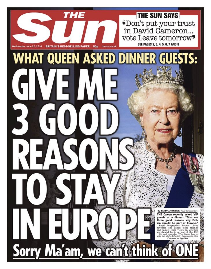 "#Brexit Elisabetta II: ""GIVE ME THREE GOOD REASONS TO STAY IN EUROPE""… GOD SAVE THE QUEEN (di Giuseppe PALMA)"