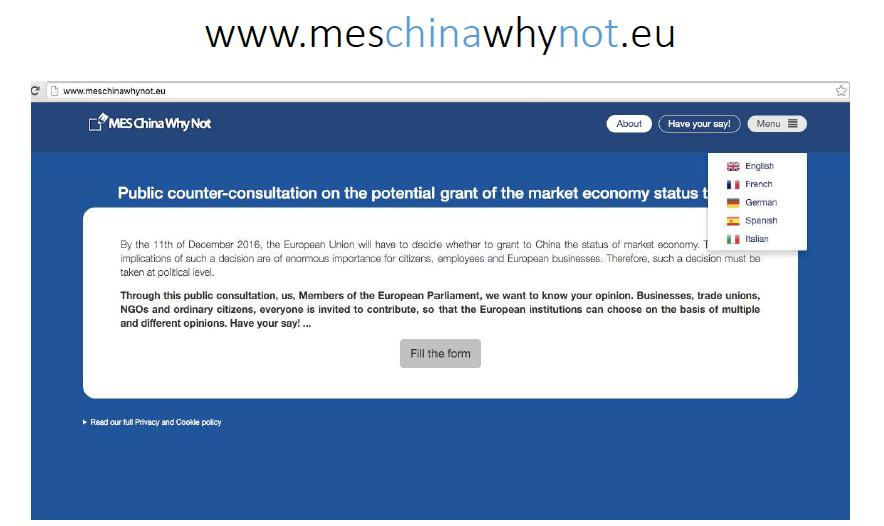 La schermata iniziale del sito in cui lasciare le tue risposte