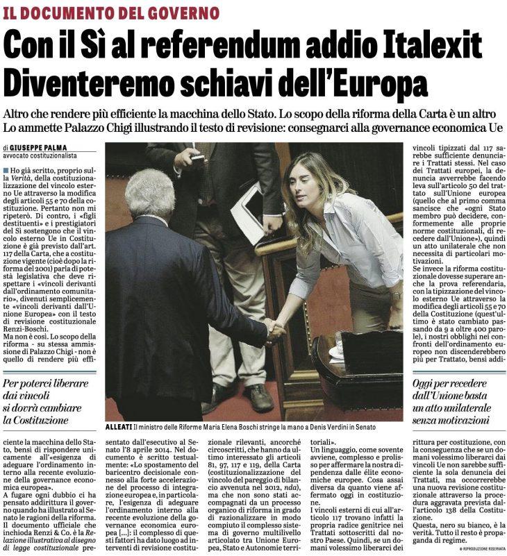 """REFERENDUM COSTITUZIONALE: IL VINCOLO ESTERNO UE IN COSTITUZIONE (articolo di Giuseppe PALMA su """"La Verità"""" del 20/10/2016)"""