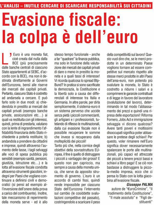 EVASIONE FISCALE: LA COLPA E' DELL'EURO, NON DEI CITTADINI (articolo di Giuseppe PALMA su Il Giornale d'Italia)