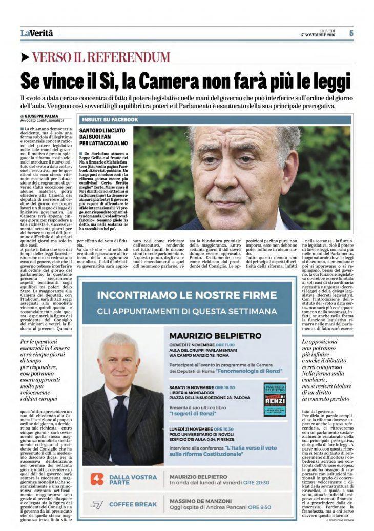 """Referendum costituzionale: se vince il SI, la Camera non farà più le leggi (articolo di Giuseppe PALMA su """"La Verità"""" del 17 novembre 2016)"""