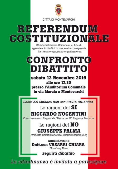 MONTEVARCHI, sabato 12 novembre – l'avvocato Giuseppe PALMA spiega le ragioni del NO al Referendum Costituzionale