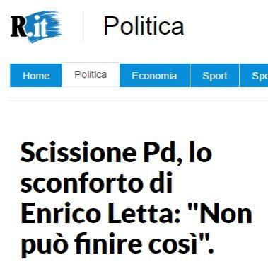 In attesa degli sviluppi, la conseguenza veramente positiva della scissione el PD è che Enrico Letta non tornerà a fare il politico in Italia…
