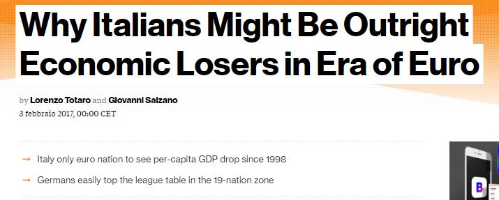 BLOOMBERG: GLI ITALIANI , I PERDENTI DELL'EURO
