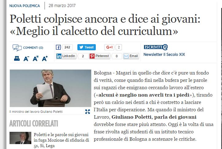 IN ITALIA MEGLIO IL CALCETTO CHE IL CURRICULUM PER IL LAVORO. GRAZIE MINISTRO POLETTI