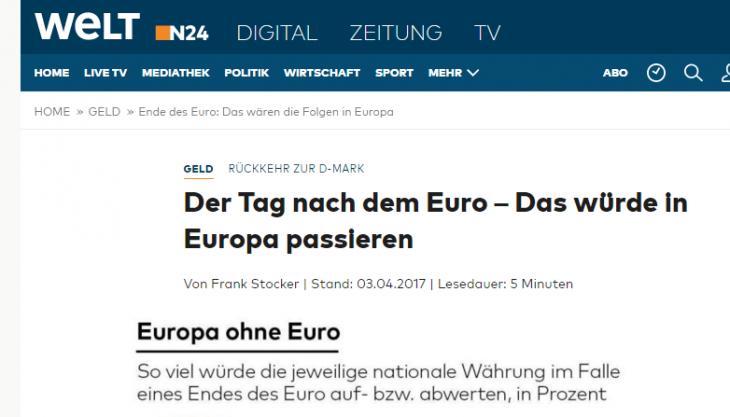 """ANCHE """"DIE WELT"""" SI ACCORGE CHE L'EURO E' DESTINATO A FINIRE, E LA GERMANIA A RIVALUTARE"""