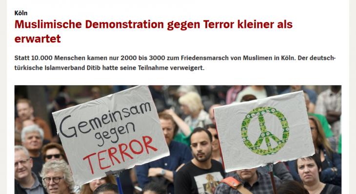 MUSULMANI CONTRO IL TERRORISMO ? DOVE ? IL FLOP DI COLONIA
