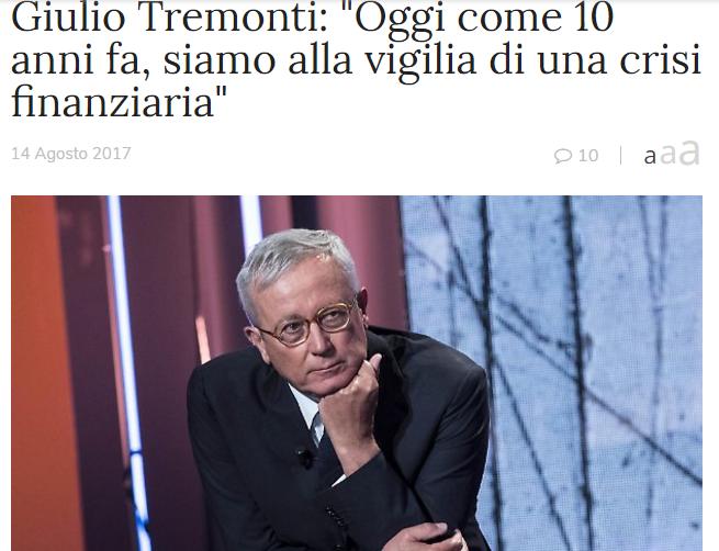 TREMONTI ANNUNCIA LA CRISI, MA PRENDE L'ENNESIMA CANTONATA.