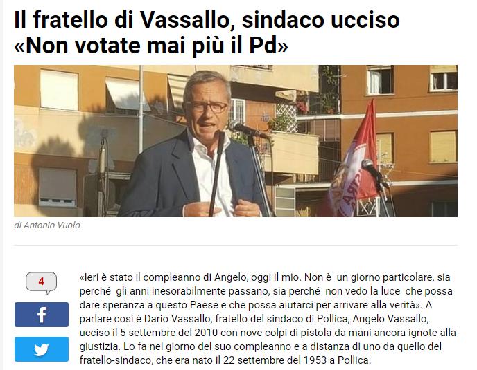 IL FRATELLO DEL SINDACO DI POLLICA UCCISO: NON VOTATE MAI PIU' PD