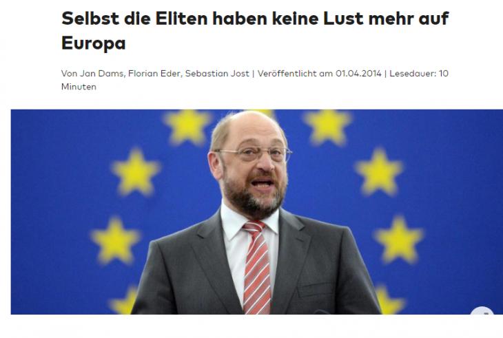 DIE WELT: PERFINO LE ELITE, CIOE' LA GERMANIA, NON VOGLIONO PIU' EUROPA
