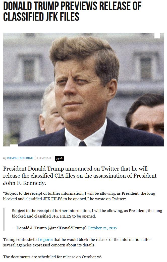Un giorno dopo essere stato attaccato da G.W. Bush, Trump desecreta gli atti dell'omicidio di JFK: . Bush padre fu arrestato a Dallas nel giorno dell'omicidio?