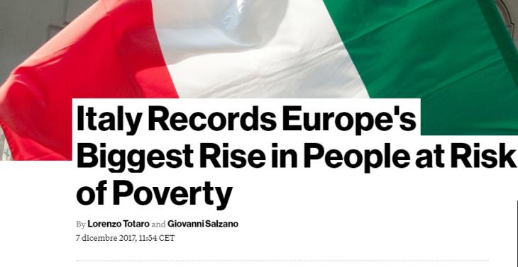 BLOOMBERG: L'ITALIA E' IL PAESE UE CON IL PIU' ALTO RISCHIO POVERTA'. CHI LO DICE ALLE FACCE DI TOLLA IN TV?