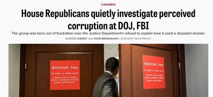 Clamoroso: secondo il filo-Dem Politico.com membri del parlamento USA stanno investigando casi di corruzione e cospirazione all'FBI e al DOJ con possibile incriminazione di Obama