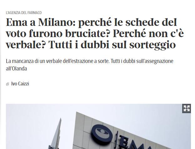 GLI ITALIANI INFINOCCHIATI DALLE VOTAZIONI SULL'EMA. CE LO MERITIAMO