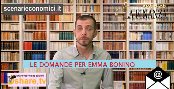 RSVP: LE DOMANDE ECONOMICHE AI POLITICI. QUESTA VOLTA EMMA BONINO