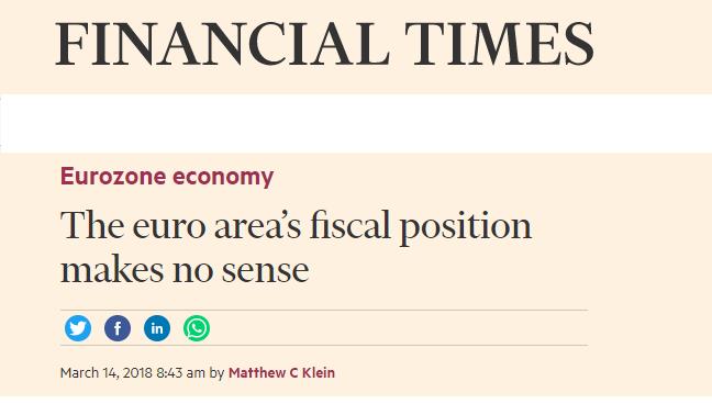PER IL FINANCIAL TIMES LA POLITICA FISCALE DELL'EUROZONA NON HA SENSO, PENSATE PER NOI.