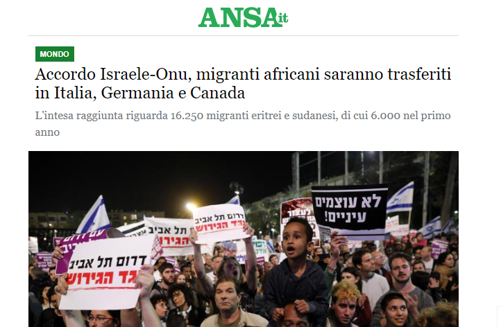 """UN GOVERNO ILLEGITTIMO ACCETTA UNA REDISTRIBUZIONE IN ITALIA DEI CLANDESTINI ESPULSI DA ISRAELE. IL BEL PAESE SENTINA DEL MEDITERRANEO. Parziale smentita, ma L'ONU conferma. """"Italia solo l'esempio""""?"""