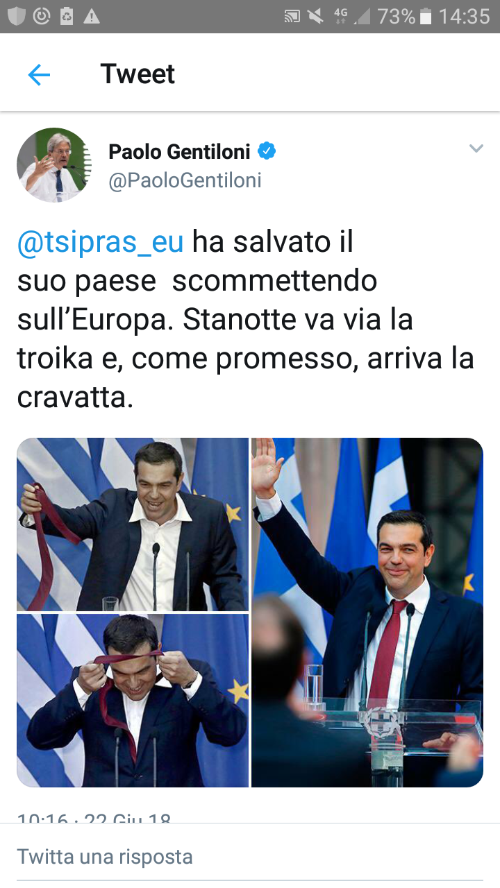 """Gentiloni si congratula con Tsipras per """"aver scommesso sull'Europa""""! Peccato non dica che l'€uropa ha imposto alla Grecia di fare AVANZO PRIMARIO fino al 2060 (di Giuseppe PALMA)"""