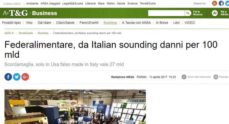 Speriamo che il Ministro si muova contro l'Italia Sounding