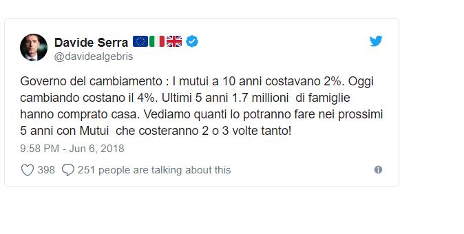 La strana Italia vista da Londra. I tassi di interesse per David Serra
