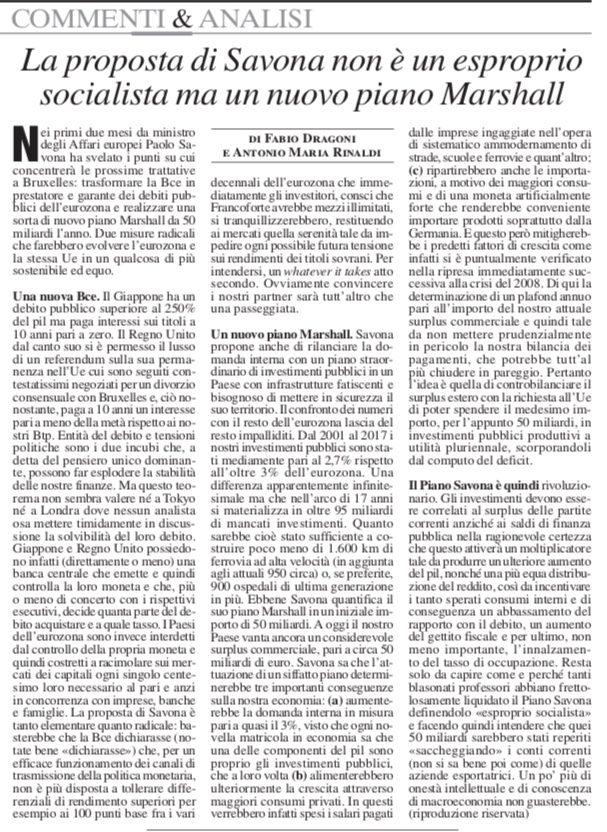La proposta di Savona non è un esproprio socialista ma un nuovo Piano Marshall di F. Dragoni e A.M. Rinaldi