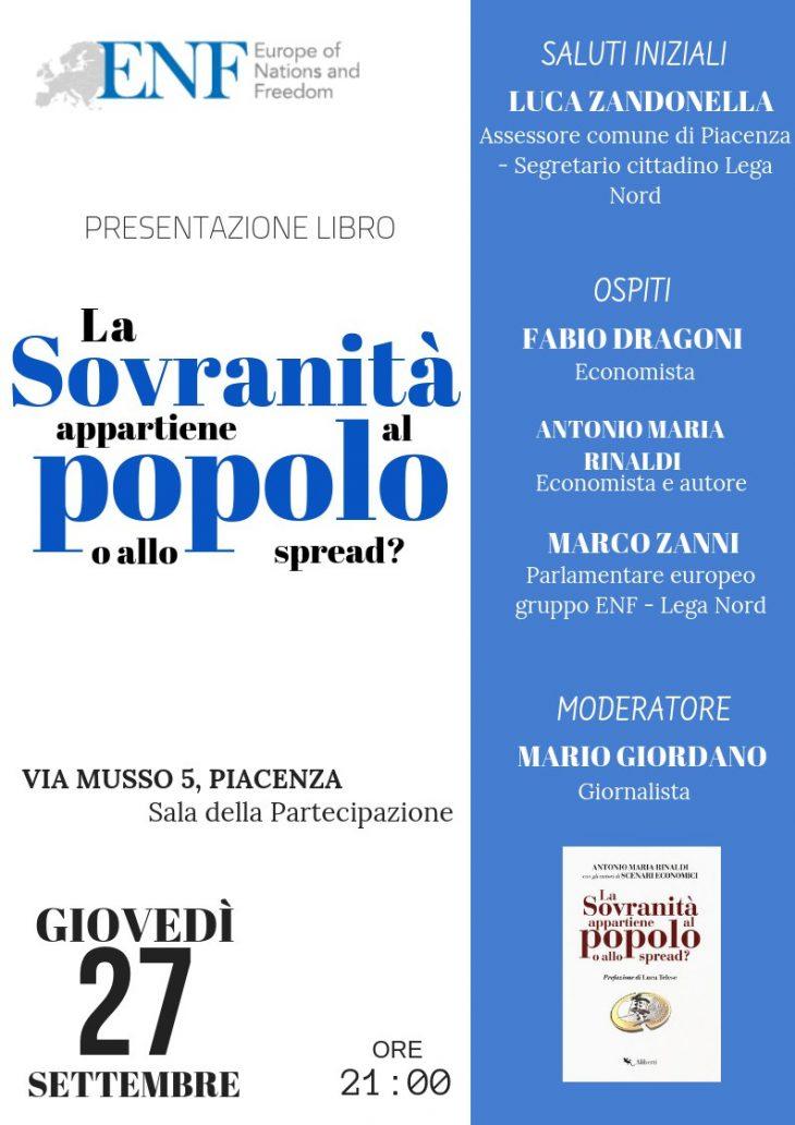 +++ PIACENZA 27 SETTEMBRE 2018 ore 21.00 presentazione del libro di ANTONIO MARIA RINALDI+++