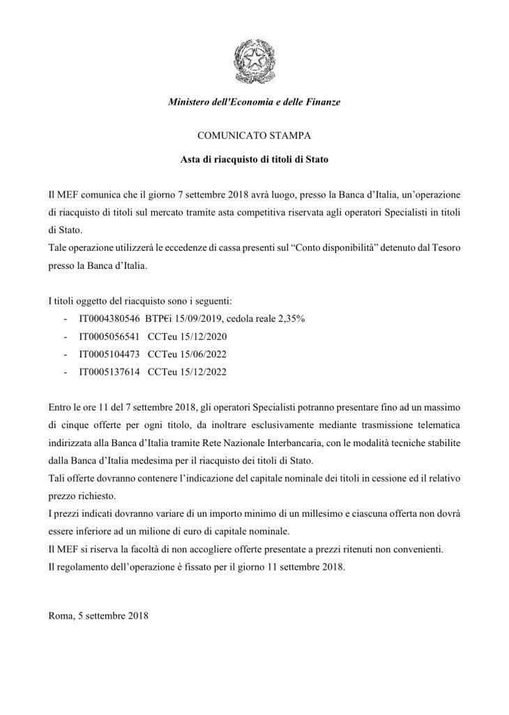 IL TESORO RIACQUISTA ALCUNI BTP E CCT…FORSE (di F. Dragoni e A. M. Rinaldi)