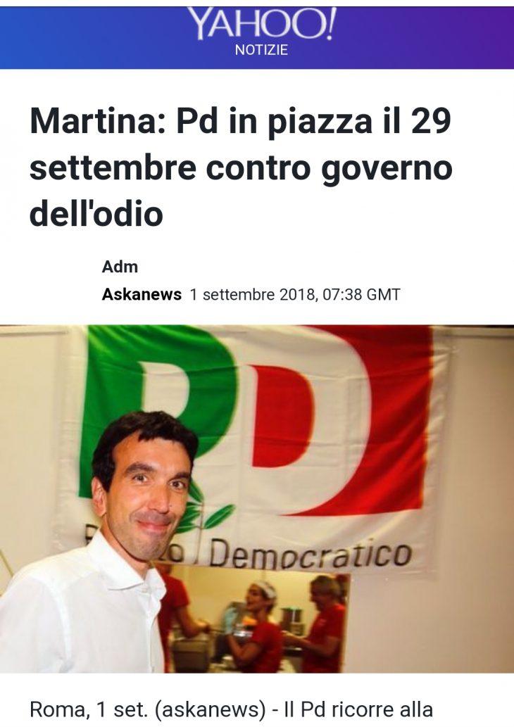 SECONDO MARTINA IL PD DOVREBBE BUTTARSI