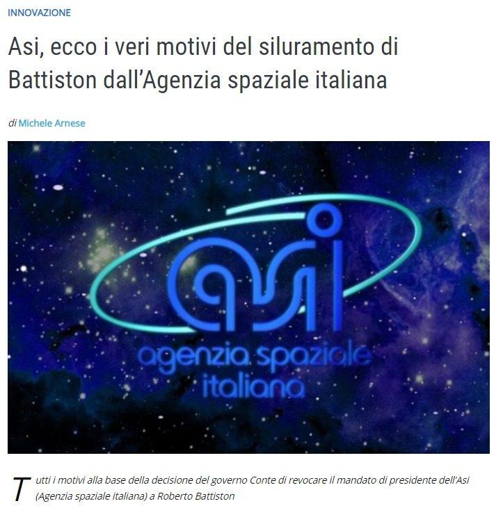 Il caso della defenestrazione del nipote di Prodi, Battiston, dall'Agenzia Spaziale Italiana e l'attenzione di un certo giornalismo indipendente, a cui dobbiamo dire grazie