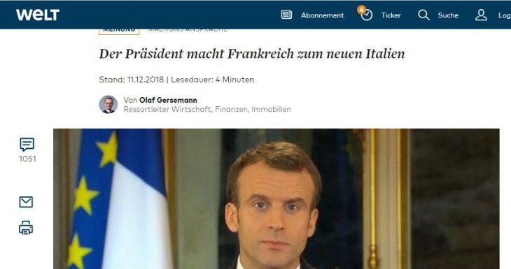 Le reazioni tedesche al cambio di rotta di Macron: diciamo che non l'hanno presa bene. L'hanno presa