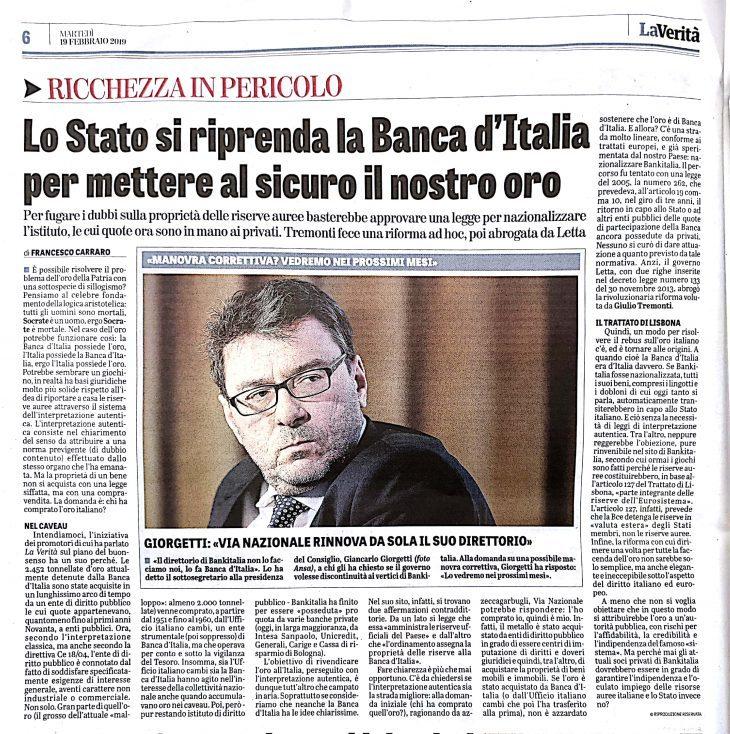 L'oro italiano all'Italia: articolo di Francesco Carraro su La Verità