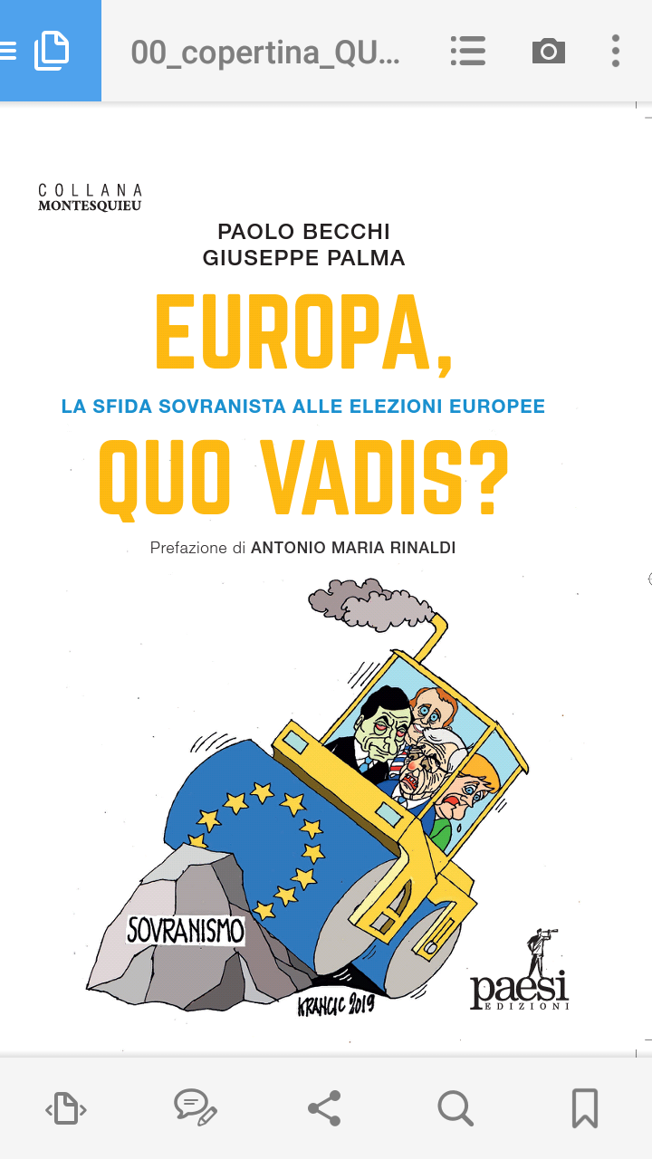 """""""EUROPA, QUO VADIS? La sfida sovranista alle elezioni europee"""". Esce tra qualche giorno l'ultimo libro di P. Becchi e G. Palma, con prefazione di A.M. Rinaldi"""