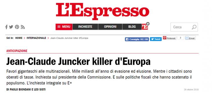 JUNCKER KILLER D'EUROPA? NO, E' MARCIO IL SISTEMA
