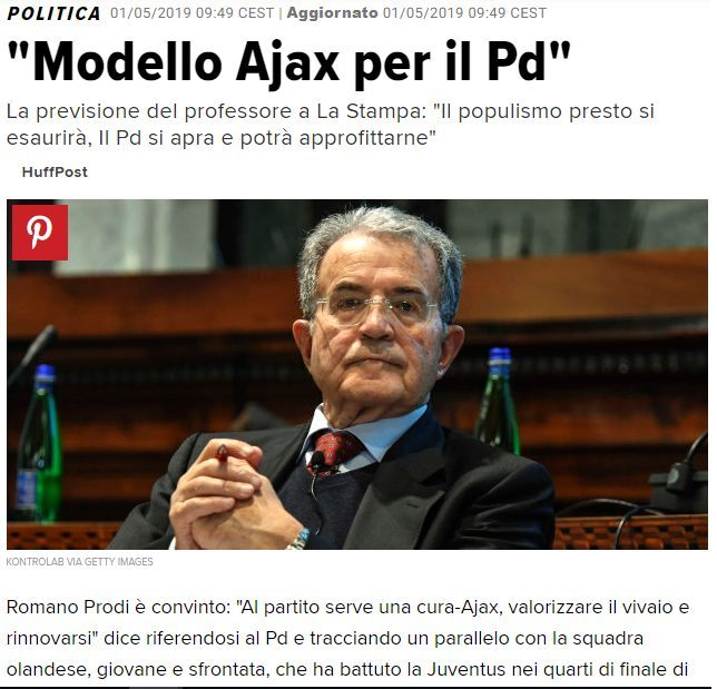 Prodi azzecca una previsione: il PD come l'Ajax!