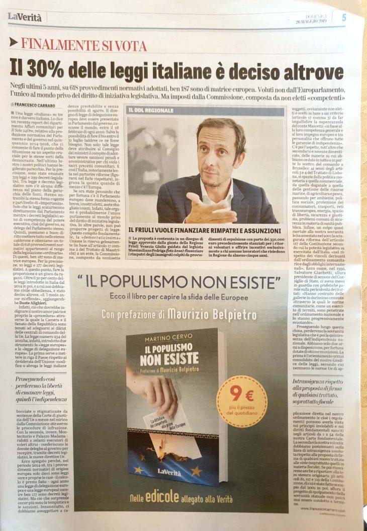 Francesco Carraro su LA VERITA': Sovranità legislativa, storia di uno scippo