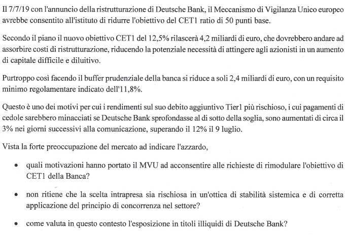 PERCHE' DEUTSCHE BANK SI E CARIGE O LE VENETE NO: UN'INTERROGAZIONE CI RIVELA L'ENNESIMO FAVORE BANCARIO